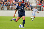 FILE - In this Oct. 27, 2019, file photo, North Carolina Courage's Abby Erceg (6) moves the ball against the Chicago Red Stars during the first half of the NWSL championship game in Cary, N.C. Coach Paul Riley calls defender Abby Erceg the bedrock of the North Carolina Courage. The New Zealand native is captain of the Courage, the two-time National Women's Soccer League defending champions. (AP Photo/Karl B DeBlaker, File)