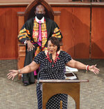 Rev. Dr. Bernice A. King, CEO of The Martin Luther King, Jr. Center for Nonviolent Social Change, speaks while the Rev. Raphael G. Warnock, Ph.D. Senior Pastor, Ebenezer Baptist Church, looks on, at Rayshard Brooks funeral in Ebenezer Baptist Church on Tuesday, June 23, 2020 in Atlanta. Brooks, 27, was shot twice in the back June 12 by Officer Garrett Rolfe after a struggle that erupted when police tried to handcuff him for being intoxicated behind the wheel of his car at a Wendy's drive-thru. Video showed Brooks snatching a police Taser and firing it at Brooks while running away. (Curtis Compton/Atlanta Journal-Constitution via AP, Pool)