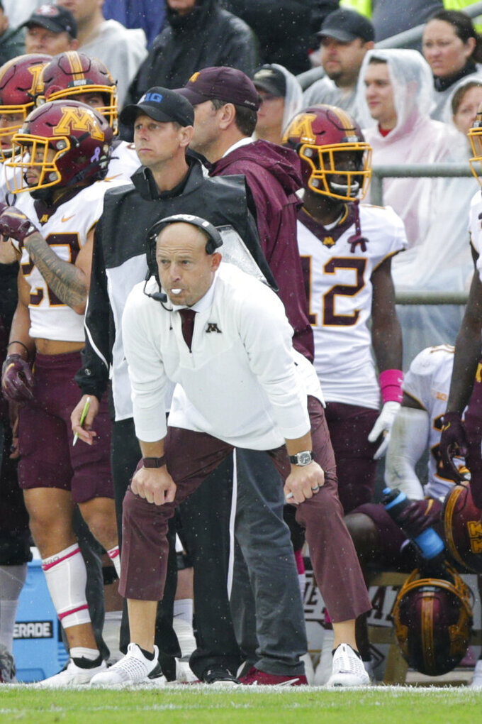 Minnesota head coach P.J. Fleck during the second quarter of an NCAA college football game, Saturday, Oct. 2, 2021, at Ross-Ade Stadium in West Lafayette, Ind. (Nikos Frazier/Journal & Courier via AP)