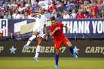 Portugal's Ana Borges, left, and United States' Carli Lloyd vie for a head ball during the first half of an international friendly soccer match Thursday, Aug. 29, 2019, in Philadelphia. (AP Photo/Matt Slocum)