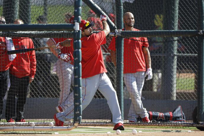 Los Angeles Angels' Anthony Rendon hits during spring training baseball practice, Monday, Feb. 17, 2020, in Tempe, Ariz. (AP Photo/Darron Cummings)