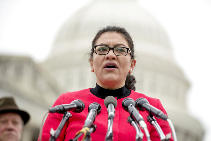 FILE - On this Jan. 17, 2019, file photo, Rep. Rashida Tlaib, D-Mich., speaks at a news conference on Capitol Hill in Washington. Democrats on Monday, May 13, defended Tlaib after President Donald Trump and his allies mischaracterized her remarks about the Holocaust to accuse her of anti-Semitism. Tlaib told a Yahoo News podcast that she gets