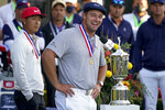 Bryson DeChambeau, of the United States, speaks after winning US Open Golf Championship, Sunday, Sept. 20, 2020, in Mamaroneck, N.Y. (AP Photo/John Minchillo)