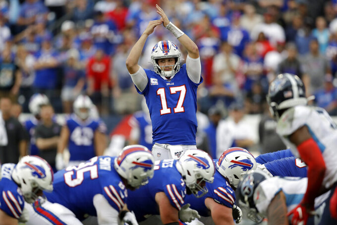 Buffalo Bills quarterback Josh Allen (17) calls for a timeout in the second half of an NFL football game against the Tennessee Titans Sunday, Oct. 6, 2019, in Nashville, Tenn. The Bills won 14-7. (AP Photo/James Kenney)