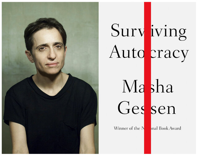 This combination of photos released by Riverhead Books shows a portrait of Russian-born author and journalist Masha Gessen, left, and Gessen's upcoming book,