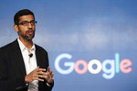 FILE - In this Wednesday, Jan. 4, 2017, file photo, Google CEO Sundar Pichai speaks during a news conference in New Delhi. Pichai is expected to showcase much-anticipated updates to the company's hardware lines and artificial intelligence Tuesday, May 7, 2019, during his keynote at the company's annual I/O conference for software developers. (AP Photo/Tsering Topgyal, File)