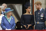 """FILE - In this Tuesday, July 10, 2018 file photo Britain's Queen Elizabeth II, Meghan the Duchess of Sussex and Prince Harry stand on a balcony to watch a flypast of Royal Air Force aircraft pass over Buckingham Palace in London. The second baby for the Duke and Duchess of Sussex is officially here: Meghan gave birth to a healthy girl on Friday, June 4, 2021. A spokesperson for Prince Harry and Meghan said the couple welcomed their child Lilibet """"Lili"""" Diana Mountbatten-Windsor. Their daughter weighed in at 7 lbs, 11 oz.  Her first name, Lilibet, is a nod to Her Majesty The Queen's nickname. Her middle name is in honor of her grandmother and Harry's mother. The baby is the eighth in line to the British throne.  (AP Photo/Matt Dunham, File)"""