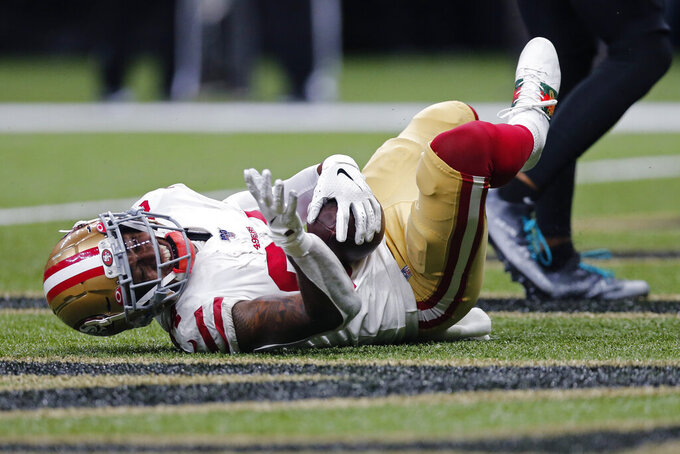 San Francisco 49ers wide receiver Kendrick Bourne (84) reacts after catching a touchdown reception in the second half an NFL football game against the New Orleans Saints in New Orleans, Sunday, Dec. 8, 2019. The 49ers won 48-46. (AP Photo/Brett Duke)