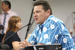 Hawaii County Clerk Jon Henricks speaks to lawmakers at a briefing at the Hawaii State Capitol in Honolulu, on Wednesday, Nov. 13, 2019. Elections officials are warning that shifting to voting by mail won't mean that Hawaii election results will be available sooner. (AP Photo/Audrey McAvoy)