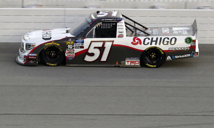 Brandon Jones drives during a NASCAR Truck Series auto race at Chicagoland Speedway in Joliet, Ill., Friday, June 28, 2019. (AP Photo/Nam Y. Huh)