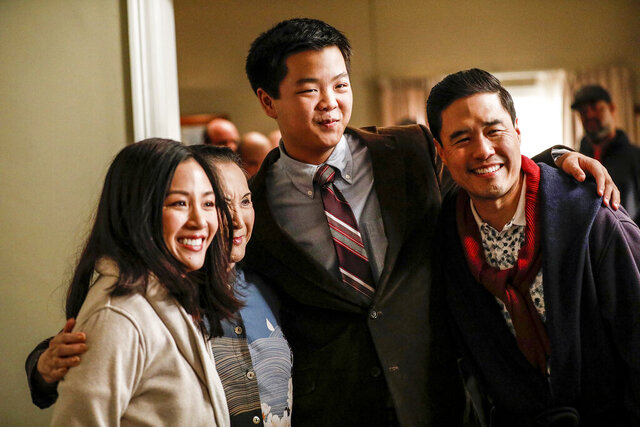 This image released by ABC shows Constance Wu, from left, Lucille Soong, Hudson Yang and Randall Park in a scene from the series finale of