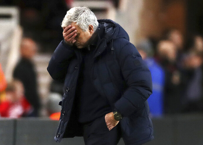 Tottenham Hotspur manager Jose Mourinho reacts during the game against Middlesbrough, during their English FA Cup third round match at the Riverside Stadium in Middlesbrough, England, Sunday Jan. 5, 2020. (Owen Humphreys/PA via AP)