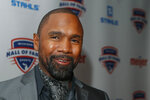 FILE - Charles Woodson is interviewed before induction ceremonies at the Michigan Sports Hall of Fame in Detroit, in this Saturday, Oct. 5, 2019, file photo. Woodson was selected Saturday, Feb. 6, 2021, for induction into the Pro Football Hall of Fame's Class of 2021.  (AP Photo/Carlos Osorio, File)