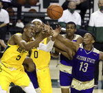 Baylor guard Jordan Turner (5) and Alcorn State guard Oddyst Walker (13) reach for a loose ball in the second half of an NCAA college basketball game, Wednesday, Dec. 30, 2020, in Waco, Texas. (AP Photo/ Jerry Larson)