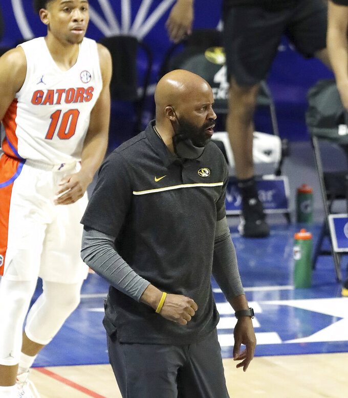 Missouri head coach Cuonzo Martin watches from the sideline during an NCAA college basketball game against Florida Wednesday, March 3, 2021 in Gainesville, Fla. (Brad McClenny/The Gainesville Sun via AP)