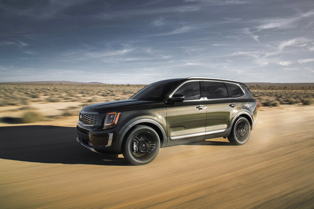This undated photo provided by Kia shows the 2020 Kia Telluride. In recent months, in-demand vehicles such as the Kia Telluride and the Toyota RAV4 Hybrid have been selling for a few thousand above MSRP. It's a textbook case of supply and demand in which there are more customers than cars. (Kia Motors America via AP)