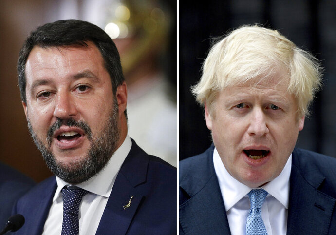 FILE - This combination photo made up of file photos shows at left, Italy's League party leader Matteo Salvini at Rome's Quirinale presidential palace on Wednesday, Aug. 28, 2019 and at right, Britain's Prime Minister Boris Johnson outside 10 Downing Street in London on Monday, Sept. 2, 2019. Both British Prime Minister Boris Johnson and Italian right-wing politician Matteo Salvini found themselves in corners this week, each in his own way having lost bets that their popularity would carry the day. (AP Photo/File)