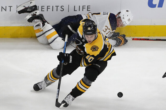 Boston Bruins left wing Anders Bjork (10) controls the puck as Buffalo Sabres center Casey Mittelstadt (37) is left behind along the boards during the third period of an NHL hockey game Thursday, Nov. 21, 2019, in Boston. The Bruins won 3-2. (AP Photo/Elise Amendola)