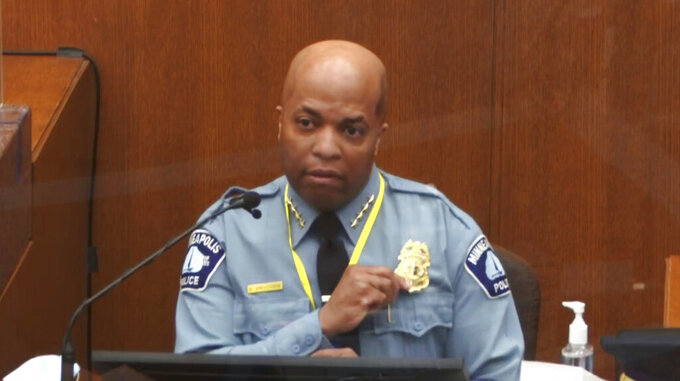 In this image from video, witness Minneapolis Police Chief Medaria Arradondo testifies as Hennepin County Judge PeterCahill presides Monday, April 5, 2021, in the trial of former Minneapolis police Officer Derek Chauvin at the Hennepin County Courthouse in Minneapolis. Chauvin is charged in the May 25, 2020 death of George Floyd. (Court TV via AP, Pool)