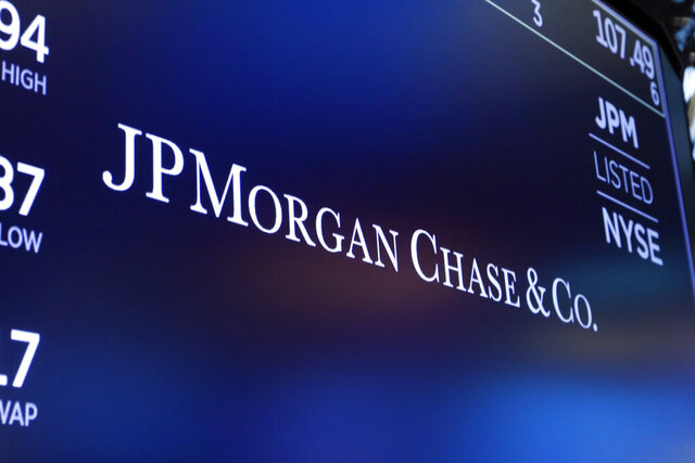 """FILE - In this Aug. 16, 2019, file photo, the logo for JPMorgan Chase & Co. appears above a trading post on the floor of the New York Stock Exchange in New York. JPMorgan Chase said Thursday, Oct. 8, 2020 it will extend billions in loans to Black and Latino homebuyers and small business owners in an expanded effort toward fixing what the bank calls """"systemic racism"""" in the country's economic system. (AP Photo/Richard Drew, File)"""