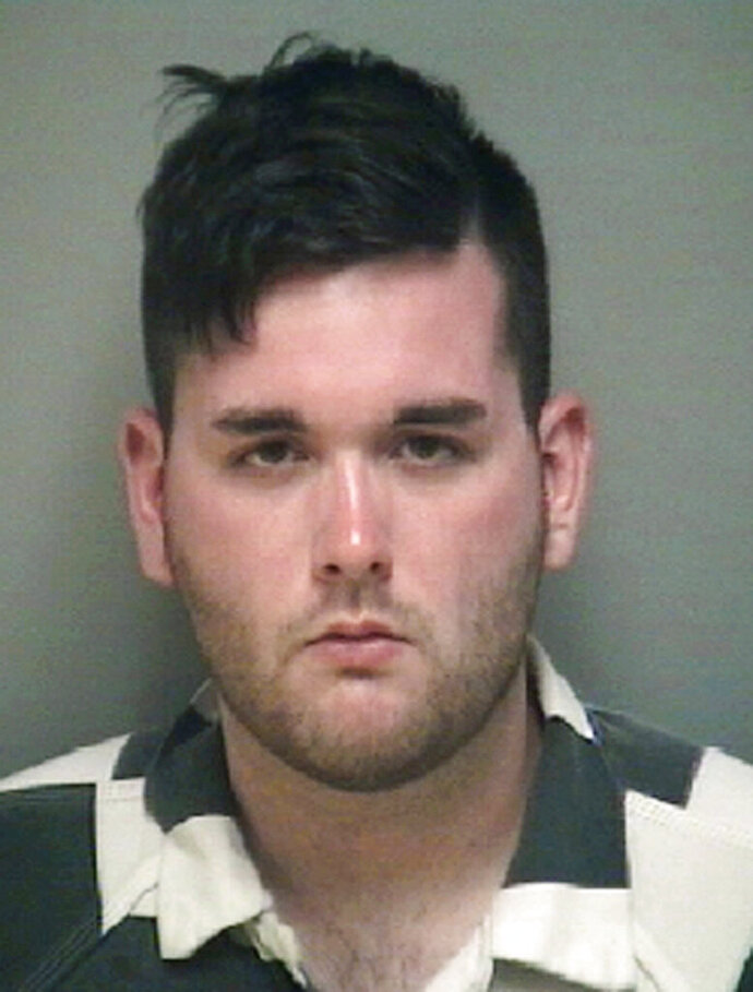 FILE - This undated file photo provided by the Albemarle-Charlottesville Regional Jail shows James Alex Fields Jr. A sentencing hearing has been moved up for the self-avowed white supremacist convicted of federal hate crimes for plowing his car into a crowd of anti-racism protesters at a 2017 white nationalist rally in Virginia. Fields was originally scheduled to be sentenced July 3, 2019. A notice filed in court says the hearing has been moved to June 28. (Albemarle-Charlottesville Regional Jail via AP, File)