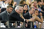 David Beckham, left, owner and president of soccer operations for Inter Miami, and Jorge Mas, second from left, managing owner, watch during the first half of the team's MLS soccer match against Montreal, Wednesday, May 12, 2021, in Fort Lauderdale, Fla. (AP Photo/Lynne Sladky)