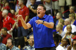 Kansas coach Bill Self reacts to play against Dayton during the first half of an NCAA college basketball game Wednesday, Nov. 27, 2019, in Lahaina, Hawaii. (AP Photo/Marco Garcia)