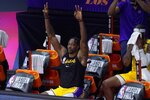 Los Angeles Lakers' Dwight Howard, celebrates late during the second half an NBA conference final playoff basketball game against the Denver Nuggets on Friday, Sept. 18, 2020, in Lake Buena Vista, Fla. (AP Photo/Mark J. Terrill)