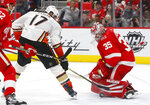 Detroit Red Wings goaltender Jimmy Howard (35) stops a Anaheim Ducks center Ryan Kesler (17) shot in the first period of an NHL hockey game Tuesday, Feb. 13, 2018, in Detroit. (AP Photo/Paul Sancya)