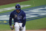 Tampa Bay Rays' Mike Zunino breaks his bat after striking against the Houston Astros during the fifth inning in Game 6 of a baseball American League Championship Series, Friday, Oct. 16, 2020, in San Diego. (AP Photo/Ashley Landis)