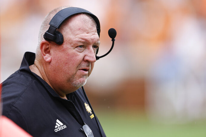 Tennessee Tech head coach Dewayne Alexander watches during the second half of an NCAA college football game against Tennessee, Saturday, Sept. 18, 2021, in Knoxville, Tenn. Tennessee won 56-0. (AP Photo/Wade Payne)