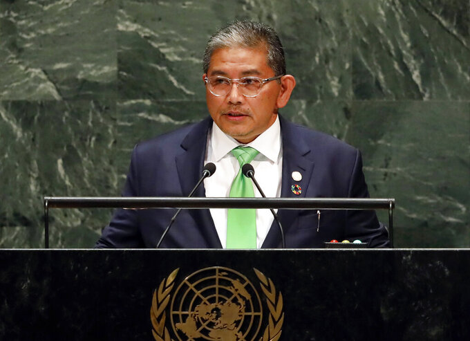 FILE - In this Sept. 30, 2019, file photo, Dato Erywan Pehin Yusof, Second Minister for Foreign Affairs and Trade of Brunei, addresses the 74th session of the United Nations General Assembly in New York. Southeast Asian foreign ministers (ASEAN) on Wednesday, Aug. 4, 2021, picked Erywan Yusof as their special envoy to Myanmar, in a breakthrough after months of delay for regional mediation to help end the country's deepening crisis. (AP Photo/Richard Drew, File)