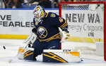 Buffalo Sabres goalie Carter Hutton (40) makes a save during the second period of an NHL hockey game against the Dallas Stars, Monday, Oct. 14, 2019, in Buffalo N.Y. (AP Photo/Jeffrey T. Barnes)