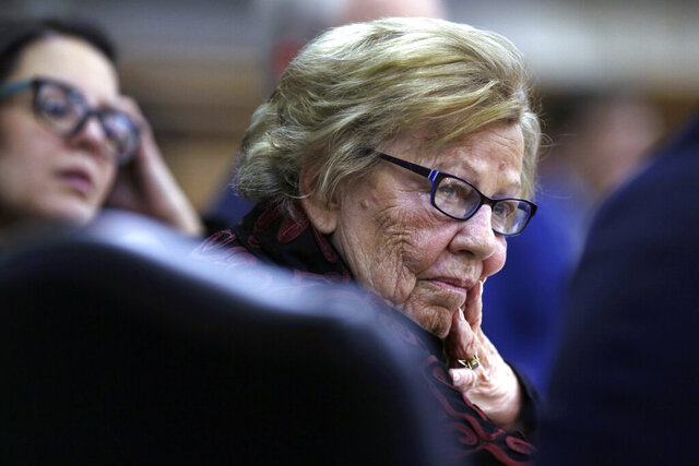 FILE - In this March 12, 2019, file photo, state Sen. Loretta Weinberg, left, listens during a meeting of the joint legislative oversight committee in Trenton, N.J. Weinberg, the state's Senate Majority Leader, said Wednesday, Jan. 13, 2021, she will be retiring after three decades in the state Legislature when her term ends early next year. (AP Photo/Jacqueline Larma, File)