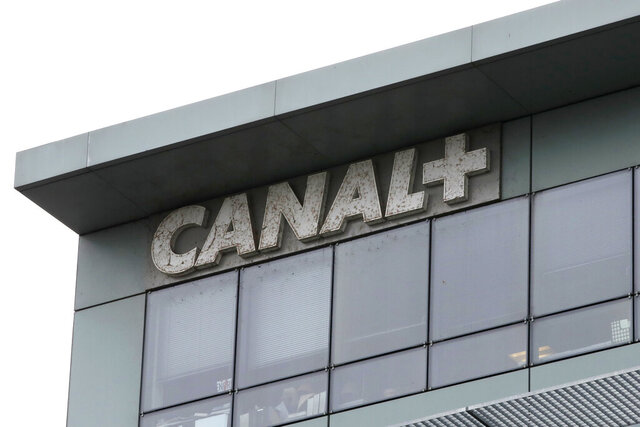 In this photo taken on Feb. 6, 2019 the headquarters of French TV Canal Plus, is pictured in Boulogne-Billancourt, outside Paris. Powerful French entertainment company Canal Plus trademarked the term