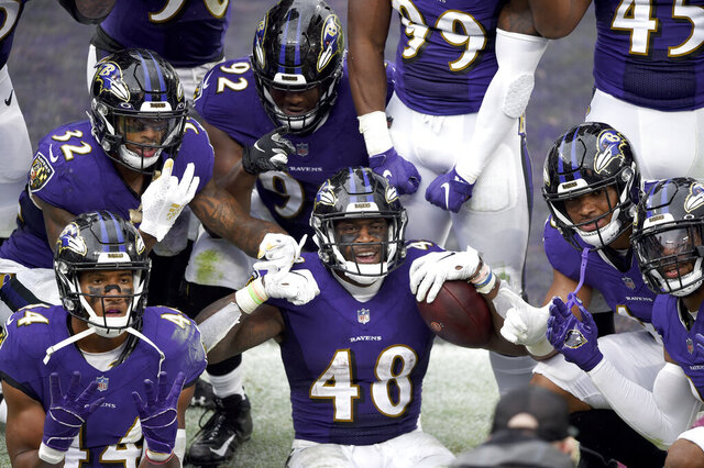 Baltimore Ravens inside linebacker Patrick Queen (48) and teammates pose for a photographer after he returned a fumble recovery 53 yards for a touchdown against the Cincinnati Bengals during the second half of an NFL football game, Sunday, Oct. 11, 2020, in Baltimore. The Ravens won 27-3. (AP Photo/Gail Burton)