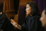 California Supreme Court Chief Justice Tani Cantil-Sakauye questions Attorney Thomas Hiltachk, representing the California Republican Party, about the GOP's opposition to a recently approved state law requiring presidential candidates to disclose their tax returns in order to be of the state's primary ballot, in Sacramento, Calif., Wednesday, Nov. 6, 2019. The law, if upheld, is intended to force President Donald Trump to release his tax returns before California's primary election that will be held in March 2020. (AP Photo/Rich Pedroncelli, Pool)
