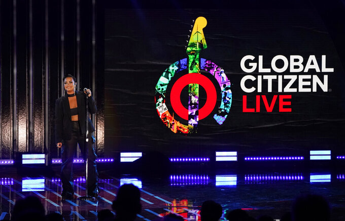 Singer Demi Lovato performs during the 2021 Global Citizen Live event, Saturday, Sept. 25, 2021, at the Greek Theatre in Los Angeles. The 24-hour live event took place on six continents and featured recording artists and celebrities raising awareness around poverty, climate change and the need for more access to COVID-19 vaccine doses worldwide. (AP Photo/Chris Pizzello)