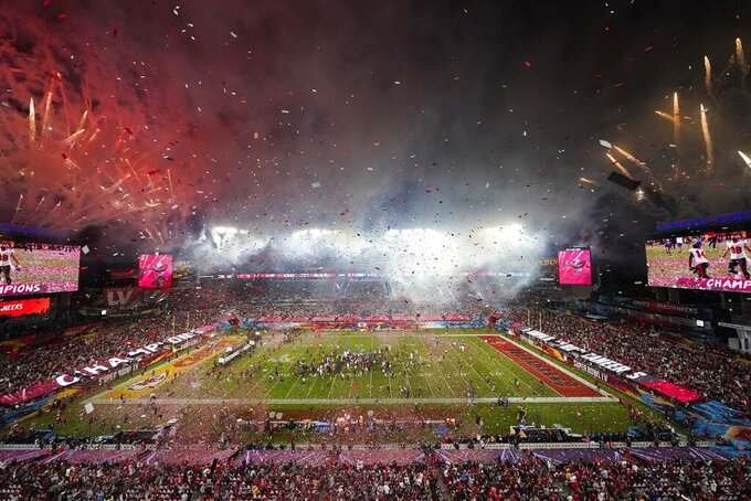 Fireworks explode after the Tampa Bay Buccaneers defeated the Kansas City Chiefs in the NFL Super Bowl 55 football game Sunday, Feb. 7, 2021, in Tampa, Fla. The Buccaneers defeated the Chiefs 31-9 to win the Super Bowl. (AP Photo/David J. Phillip)