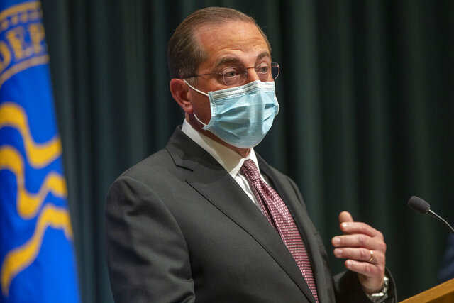 U.S. Department of Health and Human Service Secretary Alex Azar speaks during a COVID-19 briefing at the Centers for Disease Control and Prevention headquarter campus in Atlanta, Wednesday, Oct. 21, 2020.  (Alyssa Pointer /Atlanta Journal-Constitution via AP)