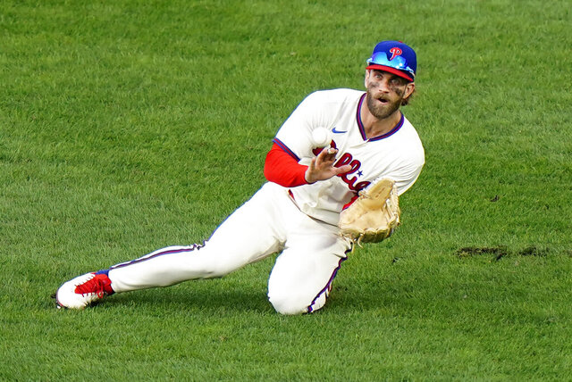 Philadelphia Phillies right fielder Bryce Harper catches a line out by Toronto Blue Jays' Alejandro Kirk during the sixth inning of the first baseball game in a doubleheader, Friday, Sept. 18, 2020, in Philadelphia. (AP Photo/Matt Slocum)