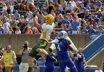 FILE - In this Saturday, Oct. 7, 2017, file photo, North Dakota State strong safety James Hendricks (6) intercepts a pass intended for Indiana State wide receiver Bob Pugh (4) during an NCAA college football game in Terre Haute, Ind. Hendricks came to North Dakota State as a highly touted high school quarterback with monster numbers, eager to follow in the footsteps of Bison trophy hunters Brock Jensen and Carson Wentz. (Joseph C. Garza/The Tribune-Star via AP, File)