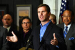 Kentucky Governor-Elect Andy Beshear introduces his transition team in the State Capitol Rotunda in Frankfort, Ky., Friday, Nov. 15, 2019. Beshear says it's time for Kentuckians to come together now that his tough race against Republican Gov. Matt Bevin has concluded. (AP Photo/Timothy D. Easley)