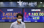 A currency trader walks near screens showing the Korea Composite Stock Price Index (KOSPI), left, and the foreign exchange rate between U.S. dollar and South Korean won at the foreign exchange dealing room in Seoul, South Korea, Thursday, Aug. 13, 2020. Asian shares were mostly higher on Thursday, cheered by the rally on Wall Street that's likely a boon for export-driven regional economies, even as investors worry about the coronavirus pandemic. (AP Photo/Lee Jin-man)