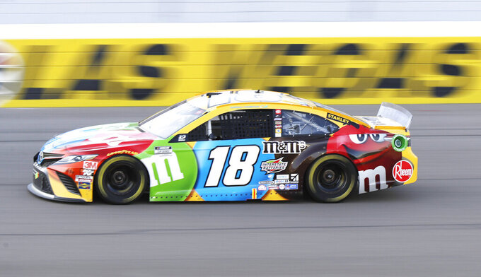Kyle Busch drives during a NASCAR Cup Series auto race Sunday, Sept. 27, 2020, in Las Vegas. (AP Photo/Isaac Brekken)