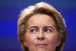 Incoming European Commission President Ursula von der Leyen listens to a question during a media conference at EU headquarters in Brussels, Tuesday, Sept. 10, 2019. Incoming European Commission President Ursula von der Leyen on Tuesday unveiled her team of candidates for the EU commission. (AP Photo/Francisco Seco)