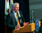 Los Angeles Police Capt. William Hayes speaks during a press conference in Los Angeles, Monday, April 16, 2018. Hayes said 28-year-old Efrem Demery has been arrested on suspicion of murder after Saturday's fire in Studio City, Calif. (AP Photo/Mike Balsamo)
