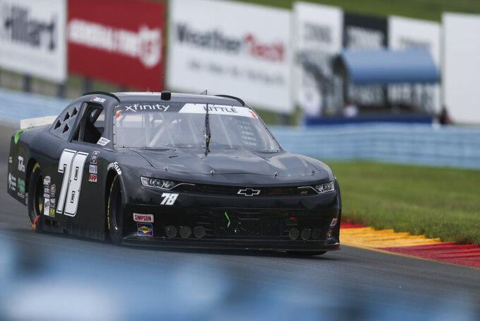 Jesse Little drives through the Esses in the NASCAR Xfinity Series auto race at Watkins Glen International in Watkins Glen, N.Y., on Saturday, Aug. 7, 2021. (AP Photo/Joshua Bessex)