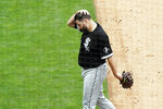 Chicago White Sox pitcher Lance Lynn heads to the dugout after throwing in the fourth inning and giving up a solo home run to  Minnesota Twins' Trevor Larnach during a baseball game on Wednesday, July 7, 2021, in Minneapolis. (AP Photo/Jim Mone)