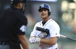 Detroit Tigers catcher John Hicks disputes a call by umpire Roberto Ortiz during the third inning of a baseball game against the Cleveland Indians, Tuesday, May 15, 2018, in Detroit. (AP Photo/Carlos Osorio)